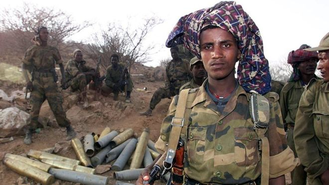 Ethiopian soldiers after taking control of the Eritrean town of Barentu in May 2000