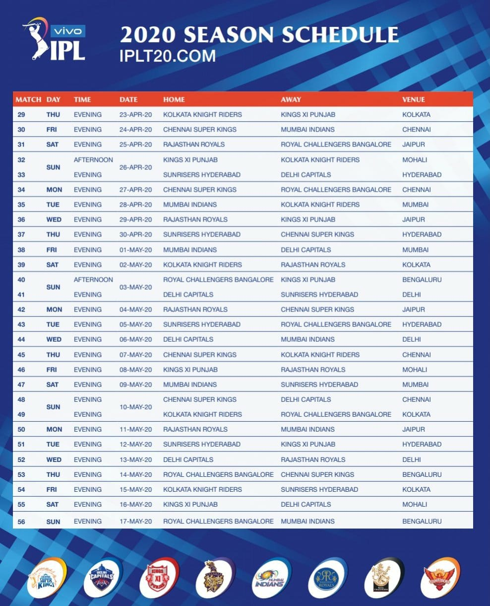 IPL 2020 Schedule UnBumf